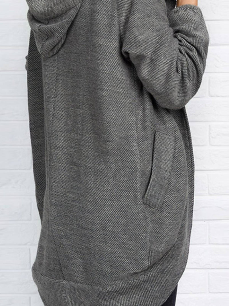 Gray Casual Cotton-Blend Outerwear