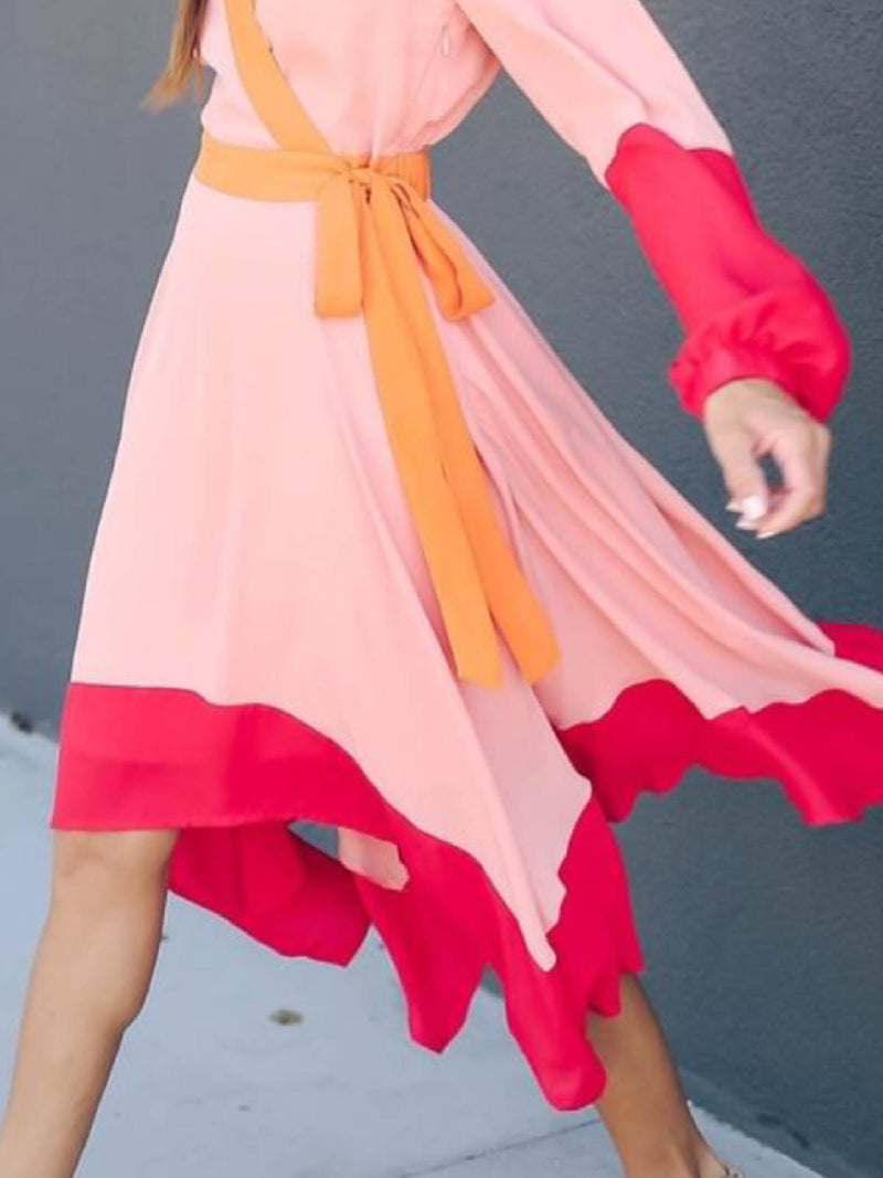 Red Silk-Organza Casual Dresses