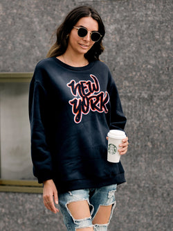 Letter Long Sleeve Casual Sweatshirt
