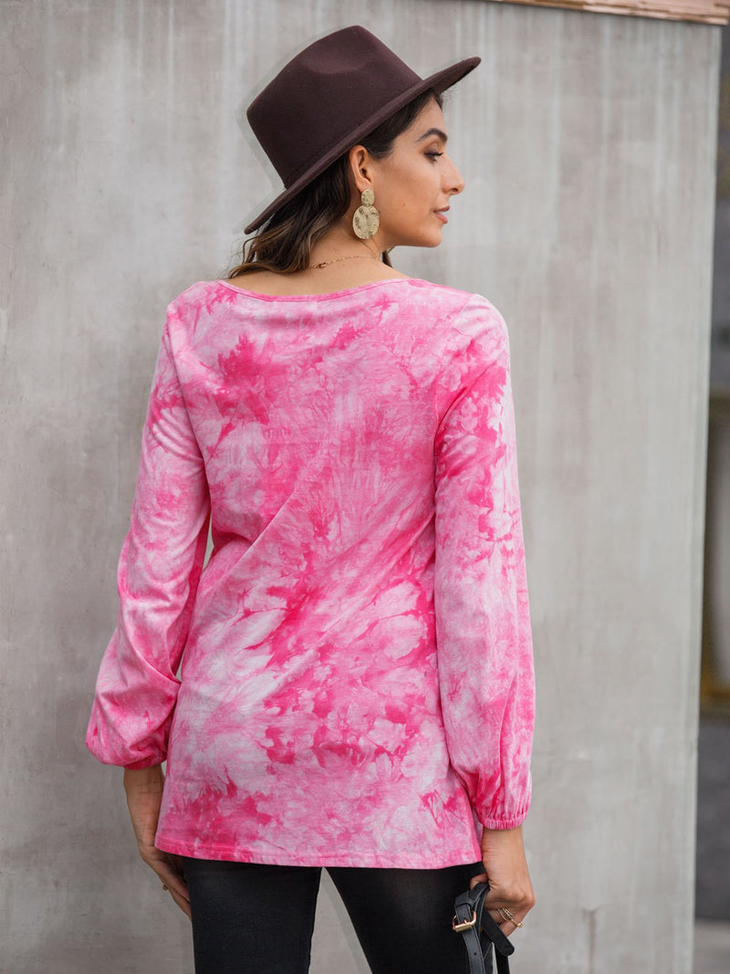 Women Ombre/tie-Dye Casual Long Sleeve Shirts & Tops