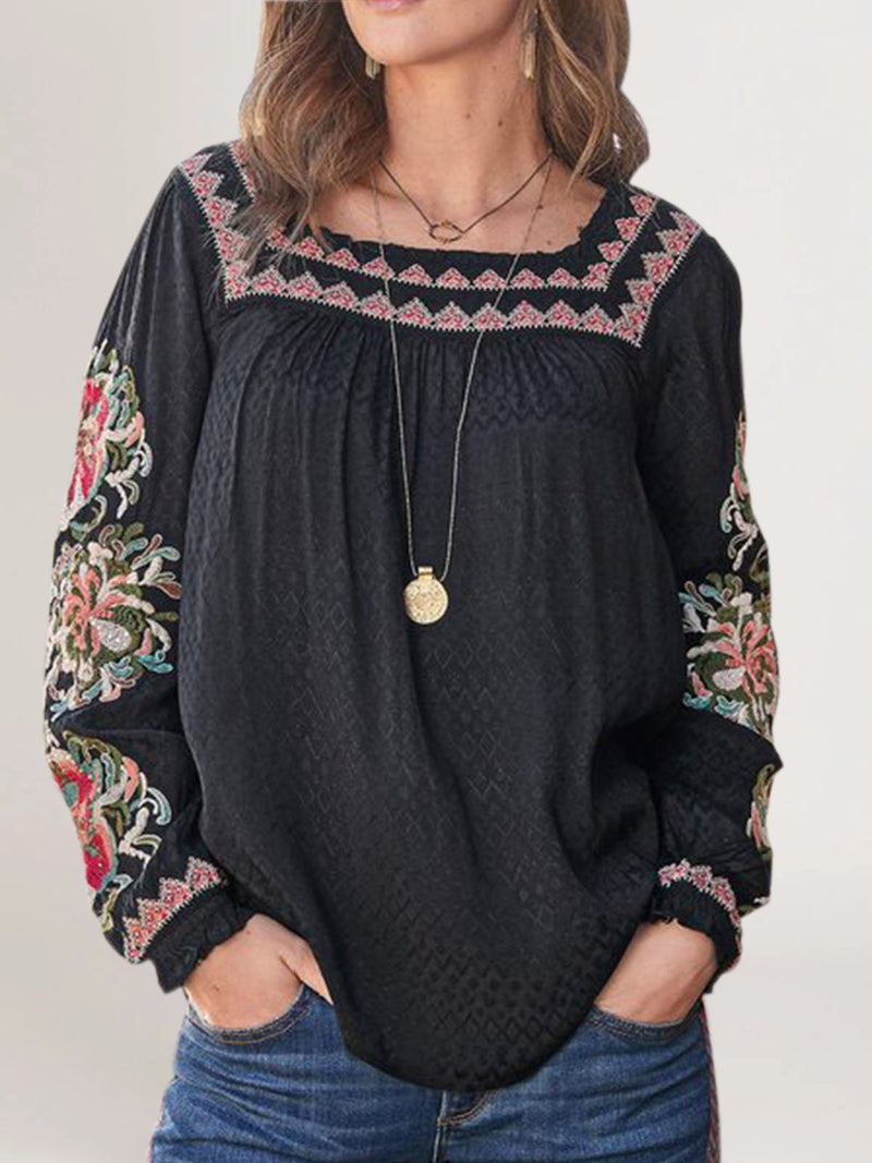Black Vintage Square Neck Embroidery Cotton-Blend Shirts & Tops