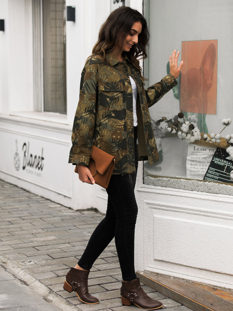 Women Camouflage Casual Denim Jackets