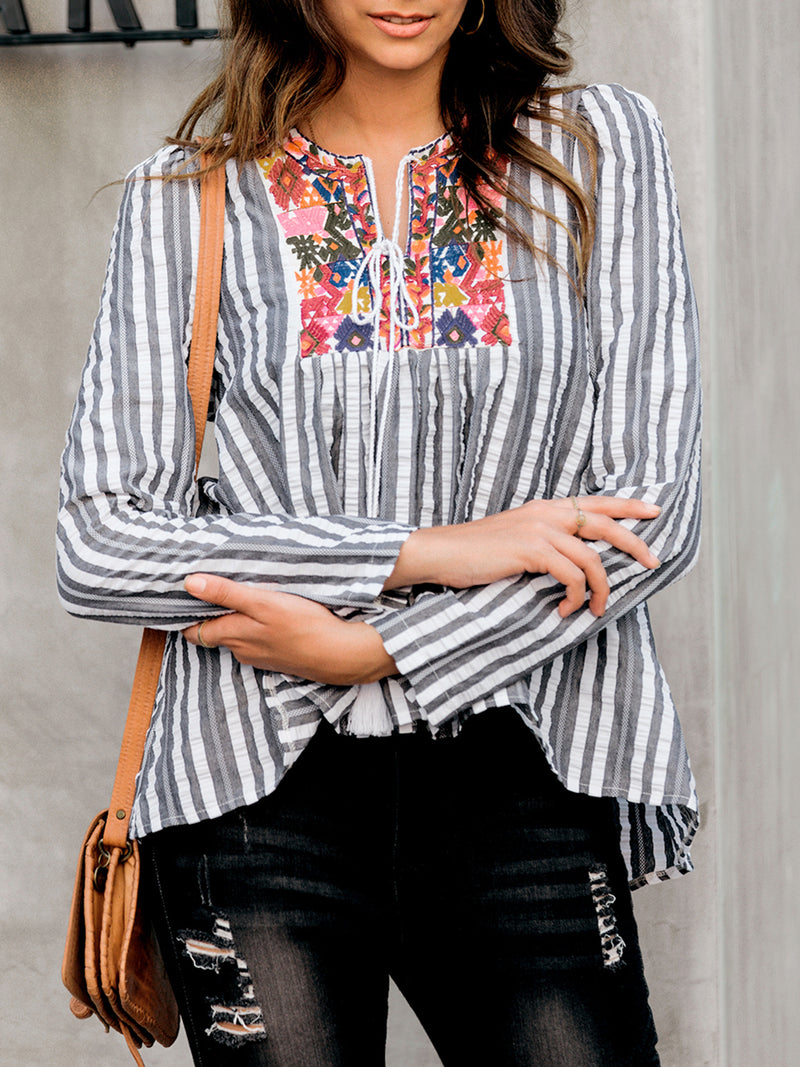 Women Drawstring Tribal Embroidery Striped Shirts & Tops