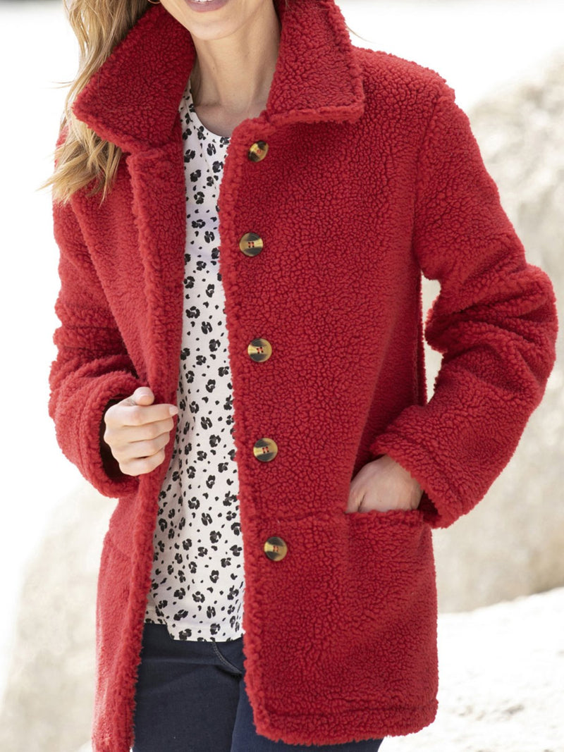 Solid Long Sleeve Pockets Casual Coat