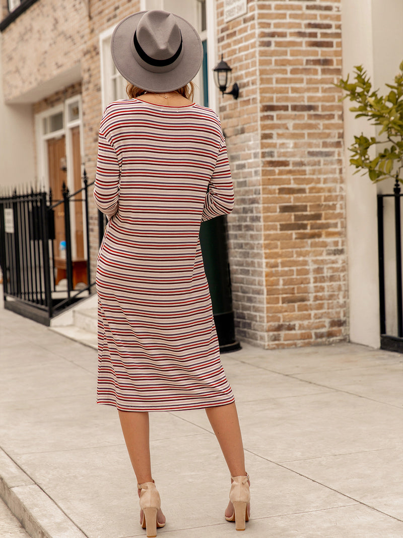 Long Sleeve Stripes Basic Shift Dresses