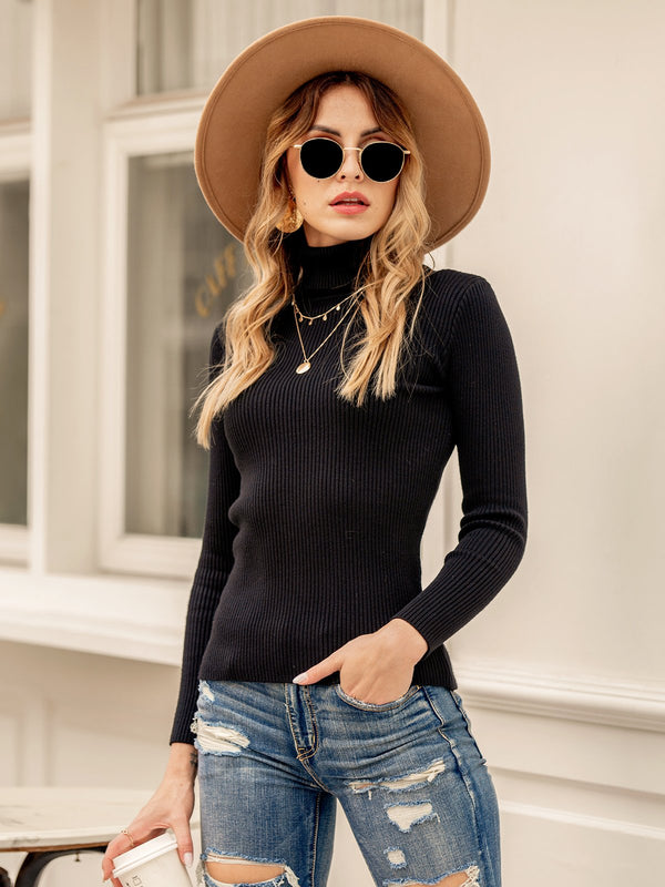 Women Long Sleeve Turtleneck Plain Shirts & Tops