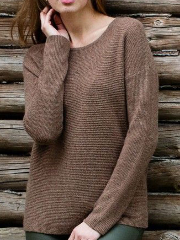 Coffee Long Sleeve Round Neck Solid Sweater