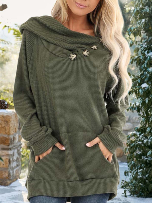 Casual Plain Buttoned Long Sleeve Hoodie Sweatshirt