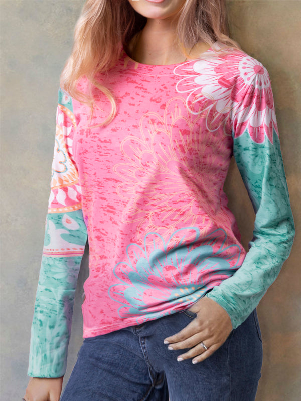 Pink Round Neck Long Sleeve Printed Floral Shirts & Tops