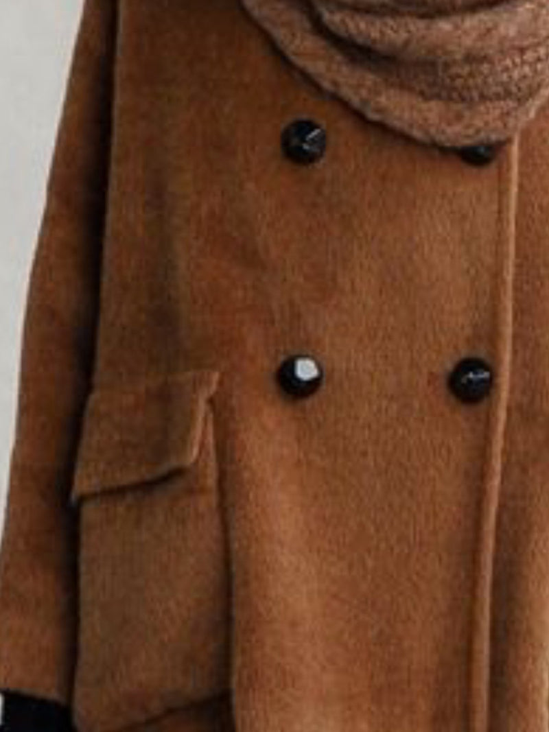 Casual Long Sleeve Buttoned V Neck Coat