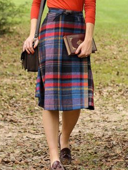 Multicolor Plus Size Checkered Vintage Casual Skirts