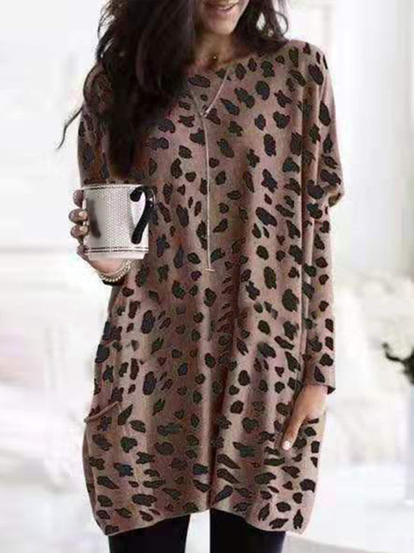 Leopard Print Long Sleeve Casual Pockets Shirt