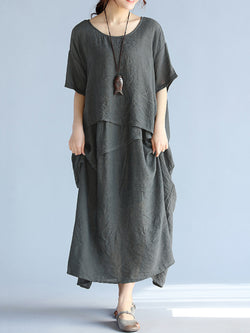 Casual Crew Neck Half Sleeve H-line Solid Maxi Linen Dress