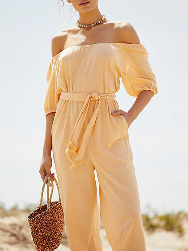 High-rise Solid Short Sleeve Bateau/boat Neck Daytime Jumpsuits
