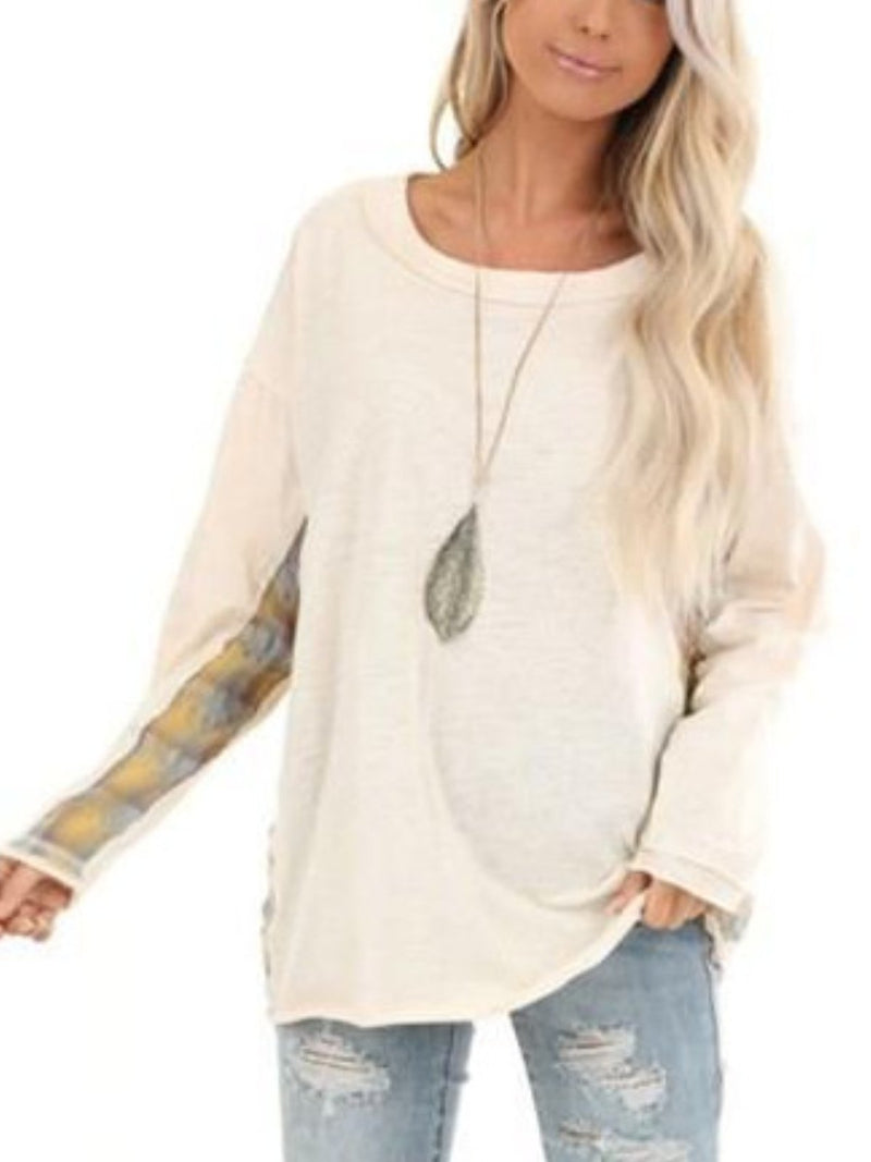 Casual Crew Neck Long Sleeve Shirts & Tops