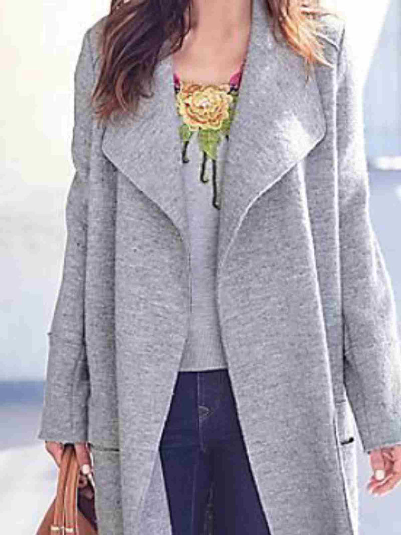 Gray Casual Long Sleeve Shawl Collar Outerwear