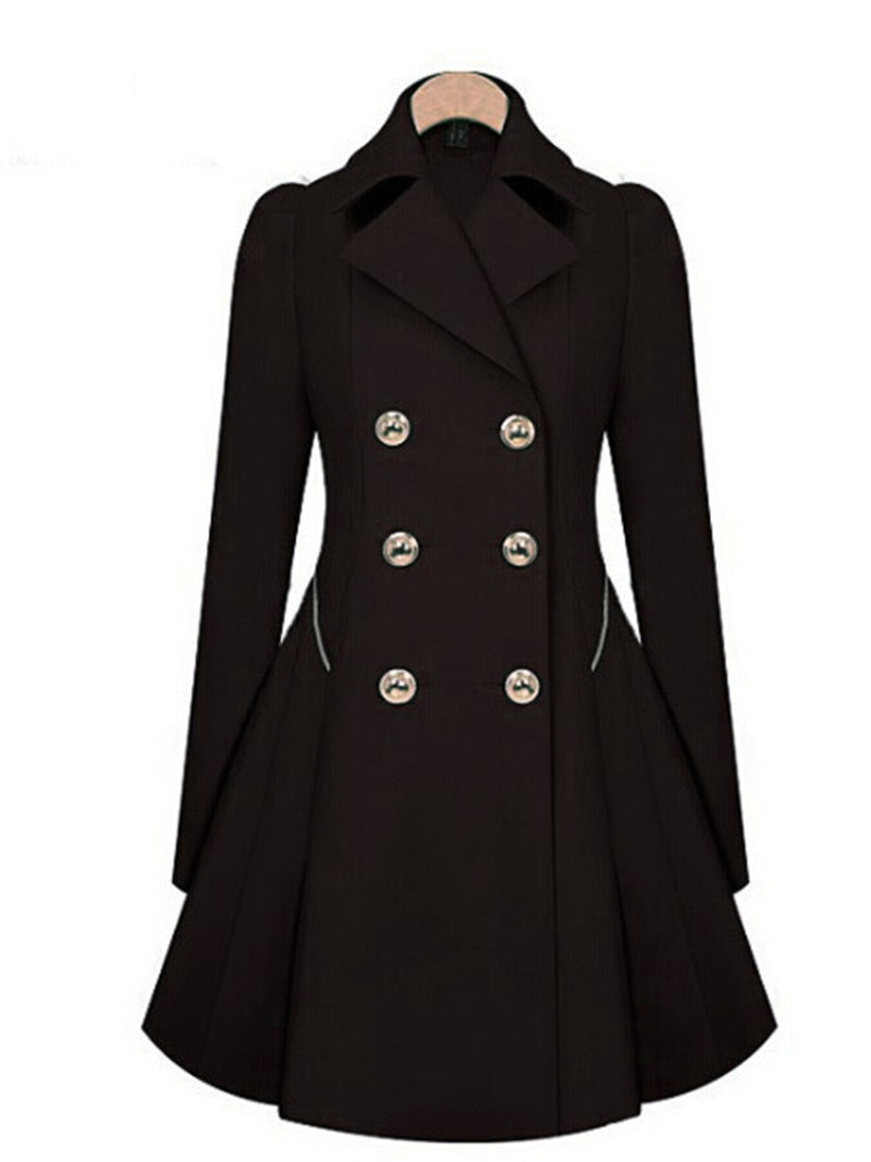 Women Peplum Coat Solid Color Double Breasted Pea Coat