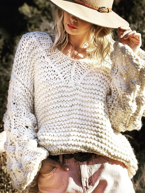 Cotton-Blend Shift Long Sleeve Sweater
