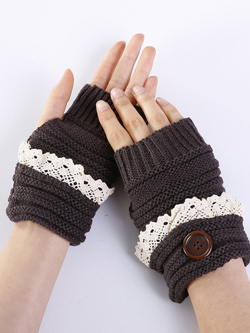 Womens Winter Knitted Solid Gloves