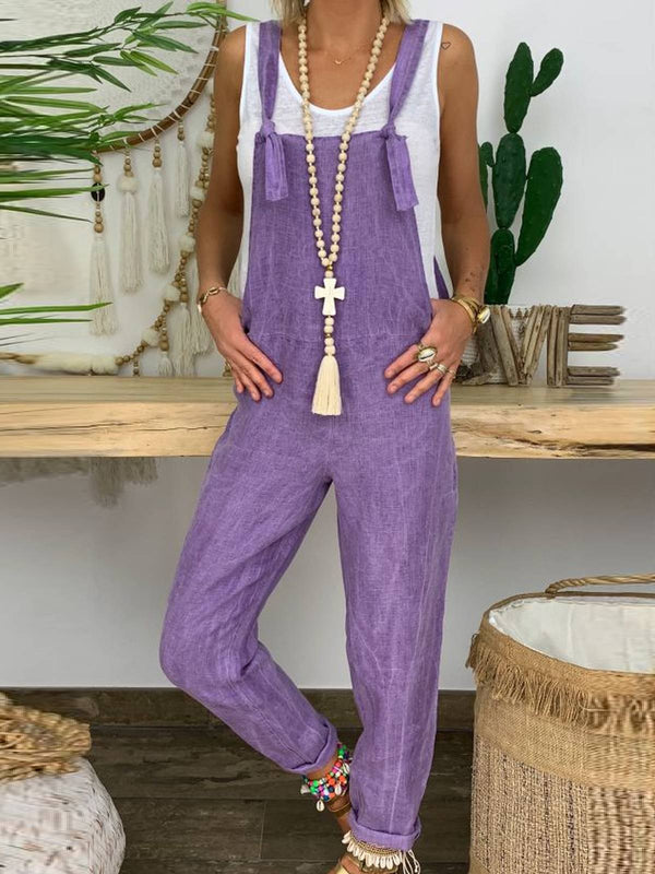 Denim Purple Casual Jeans Cotton-Blend One-Pieces Overalls