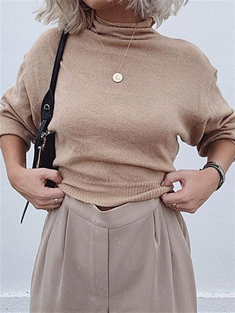 Beige Knitted Turtleneck Autumn Basic Daily Top