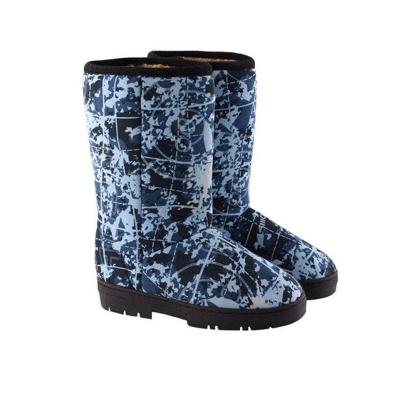 Women Winter Slip-On Low Heel Camouflage Snow Boots