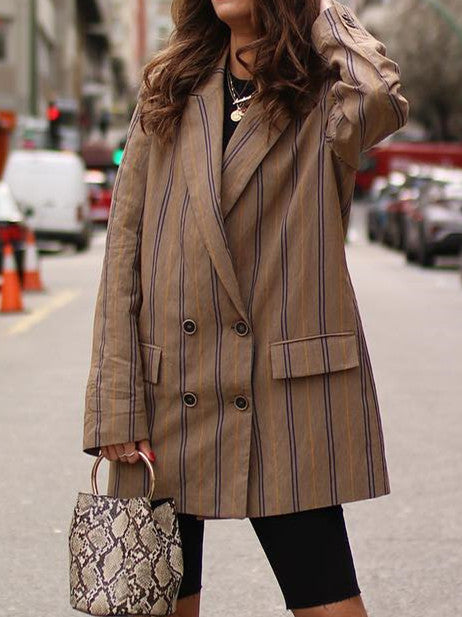 Casual Striped Cotton-Blend Outerwear