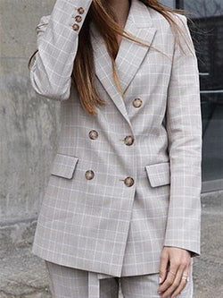 Grey Plaid Casual Daily Autumn Winter Suit Coat