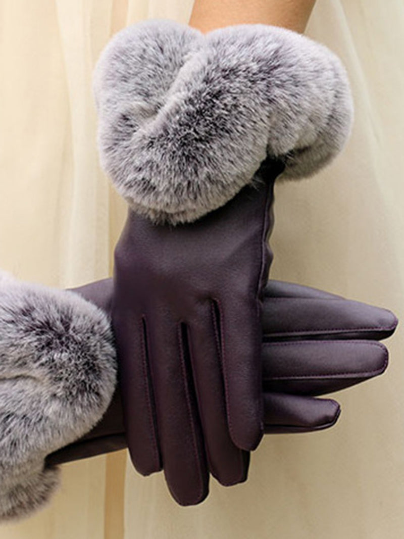 Casual Leather Solid Gloves
