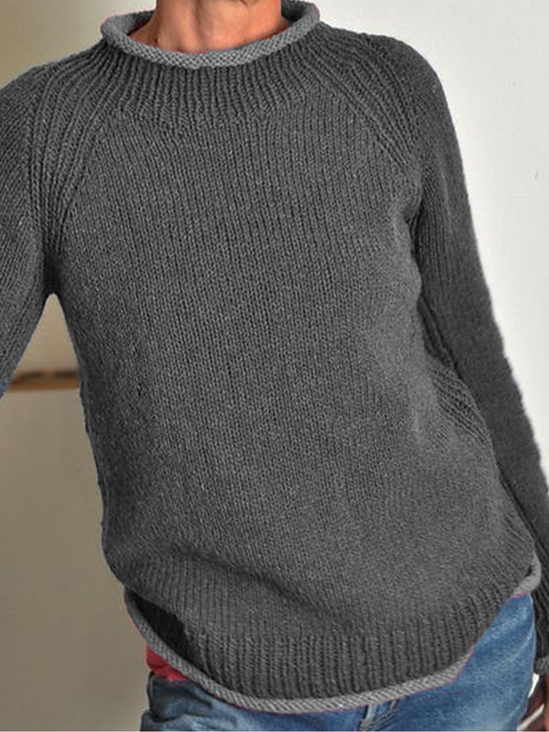 Blue Crew Neck Long Sleeve Plus Size Sweater