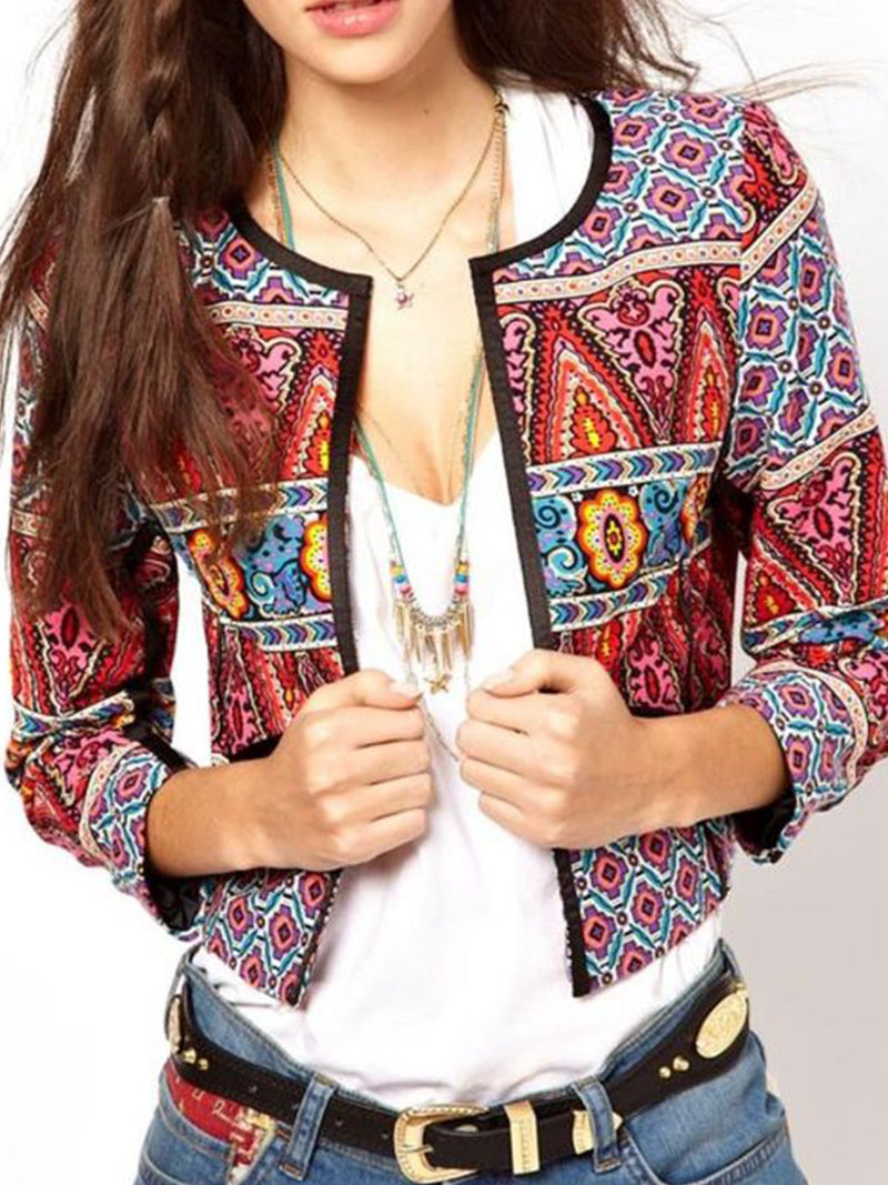Plus Size Geometric Boho Printed Long Sleeve Casual Outerwear