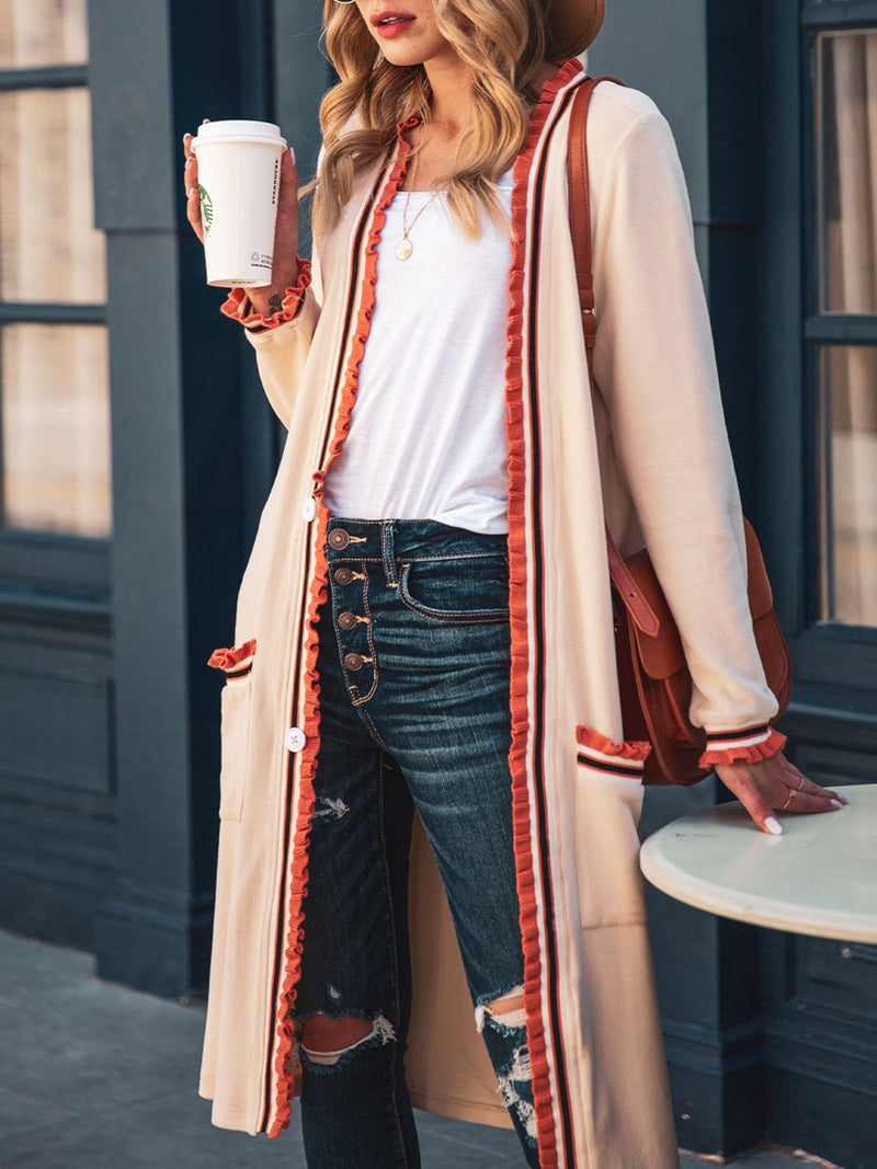 Women Ruffled Solid Casual Cardigans