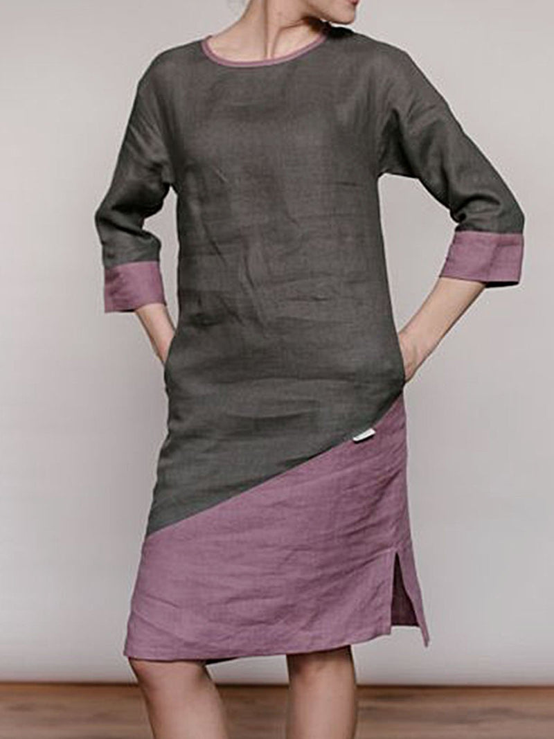 Light Purple Cotton Half Sleeve Shift Crew Neck Dresses