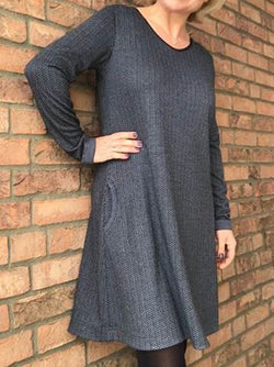 Black Gray Crew Neck Knitted Long Sleeve Dresses