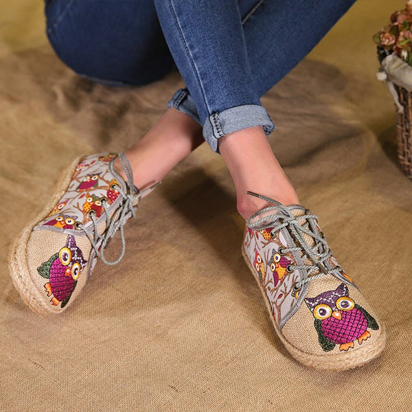 Lace Up Owl Embroidered Flats Shoes