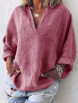 Woman Linen Simple & Basic Long Sleeve Shirts