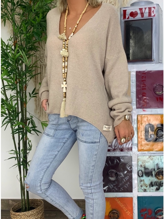 Khaki Solid Long Sleeve Shirts & Tops