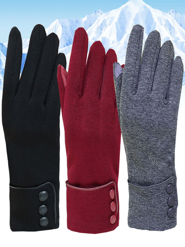 Warm Vintage Plain Button Non-fleece Gloves