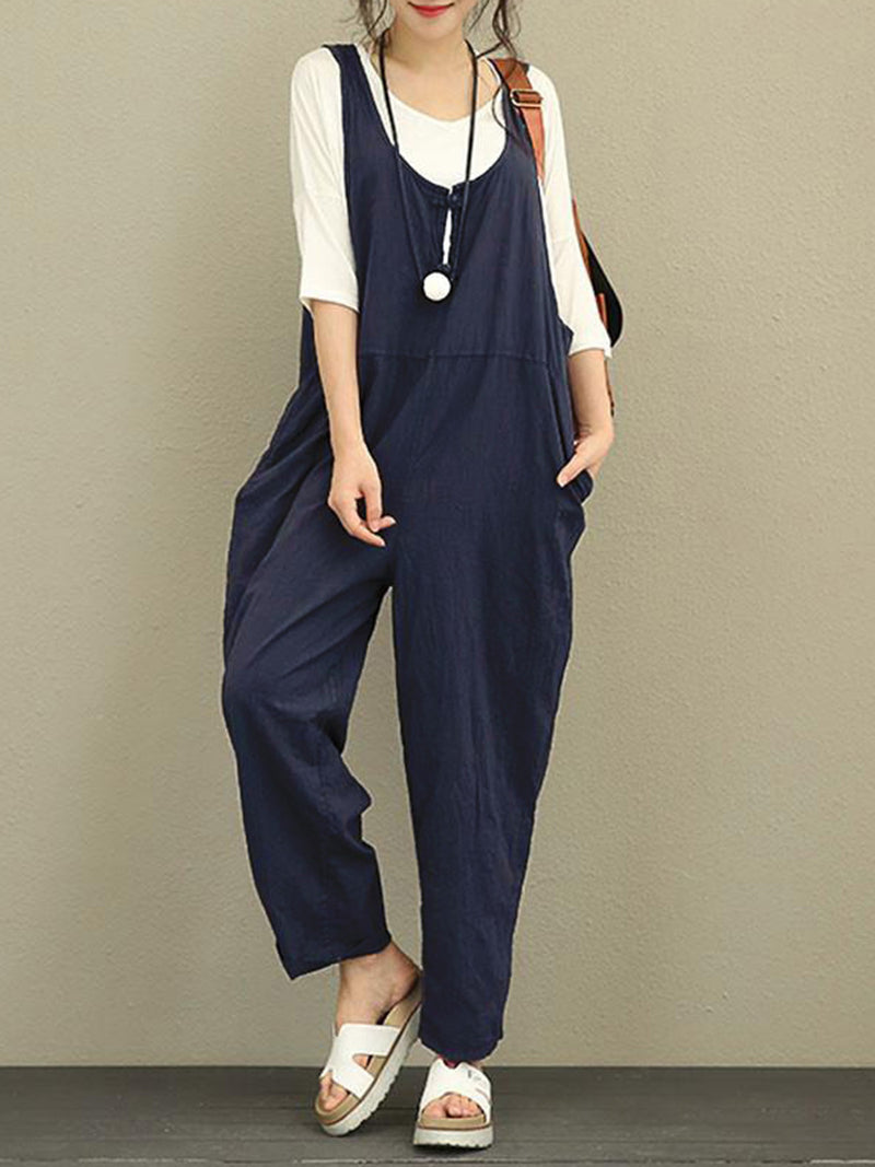 Cutout Pockets Solid Casual Pockets Jumpsuit