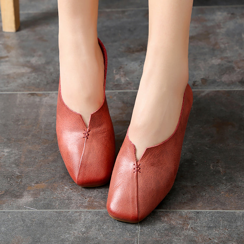 Genuine Leather Comfortable Flat Heel Daily Shoes