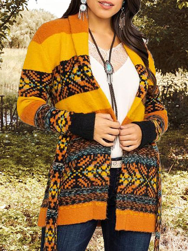 Tribal Printed Long Sleeve Outerwear