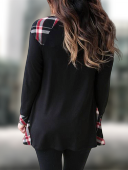 Black A-Line Casual Paneled Checkered/plaid Shirts & Tops