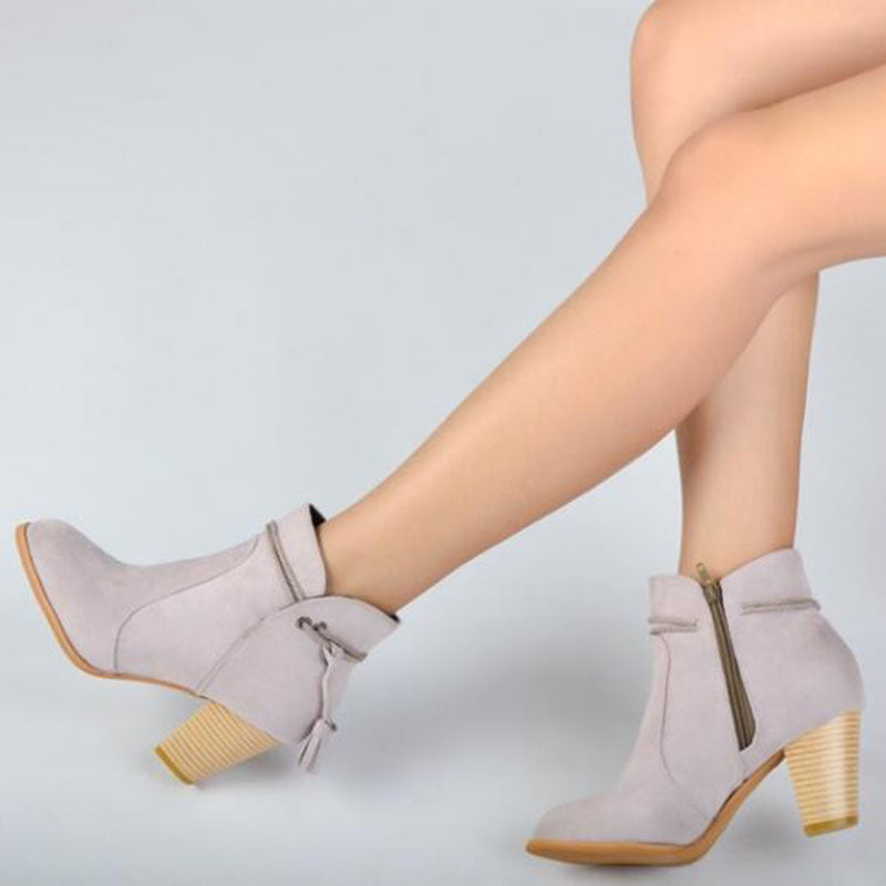 Plus Size Ankle Zipper Pointed Toe Chunky Heel Women Boots