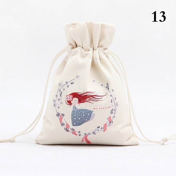Christmas Gift Bag Canvas Storage Bag Drawstring Bag Pocket Candy Gift Bag