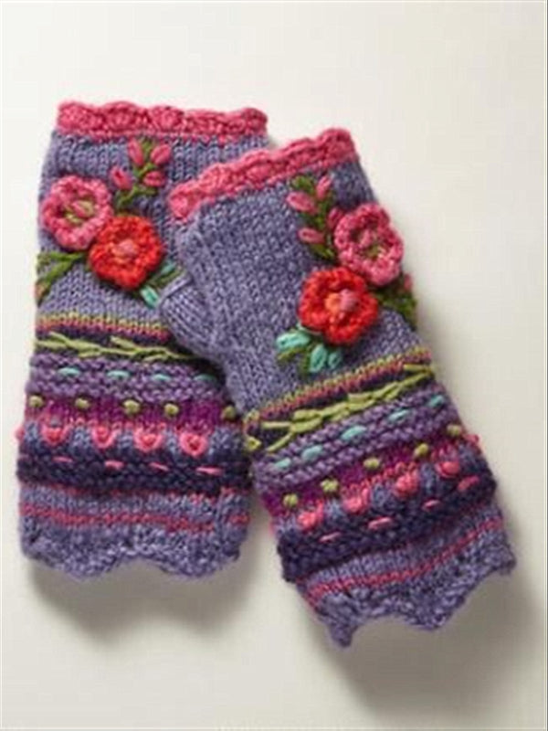 Woman Knitting Purple Casual Knitted Gloves & Mittens