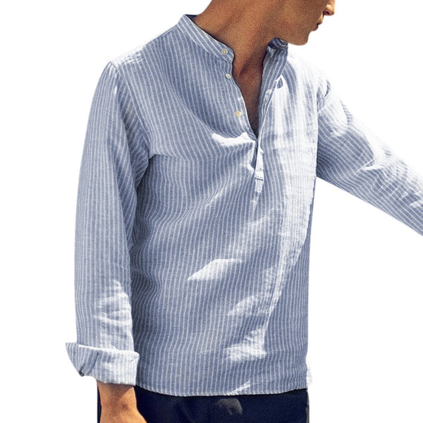 SIGNFAITH Men's Blue And White Striped Shirt