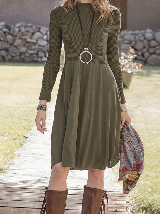 Olive Green Sheath Long Sleeve Dresses