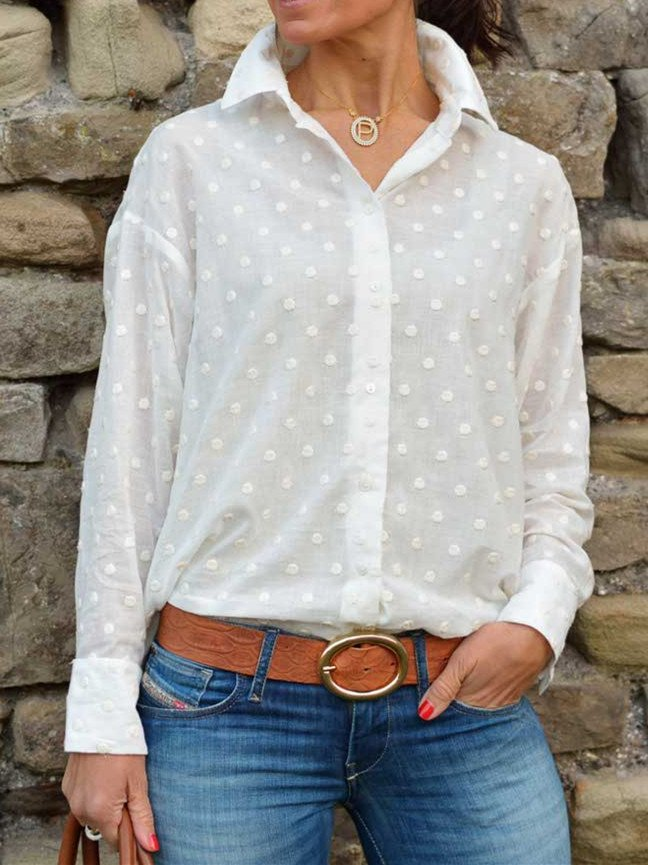 Cotton-Blend Casual Turn-Down Collar Shirts
