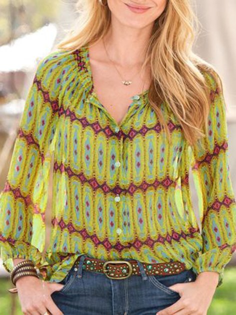 Green Vintage Tribal Shift Shirts & Tops