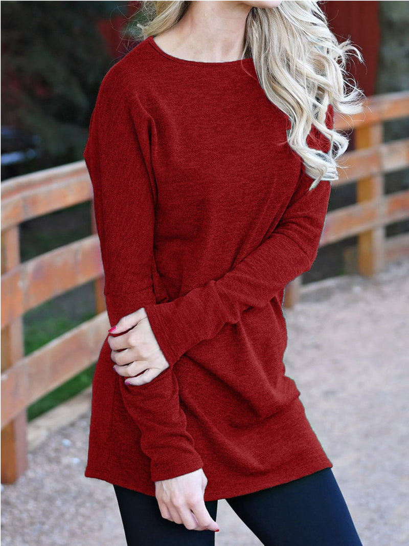Casual Plus Size Round Neck Long Sleeve Shirts